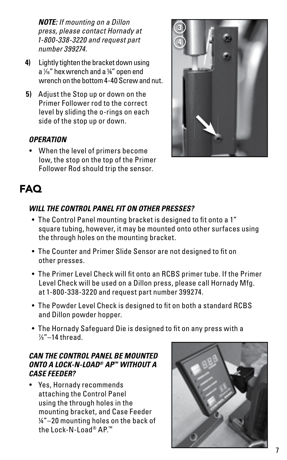 Hornady Lock-N-Load Control Panel User Manual | Page 7 / 8