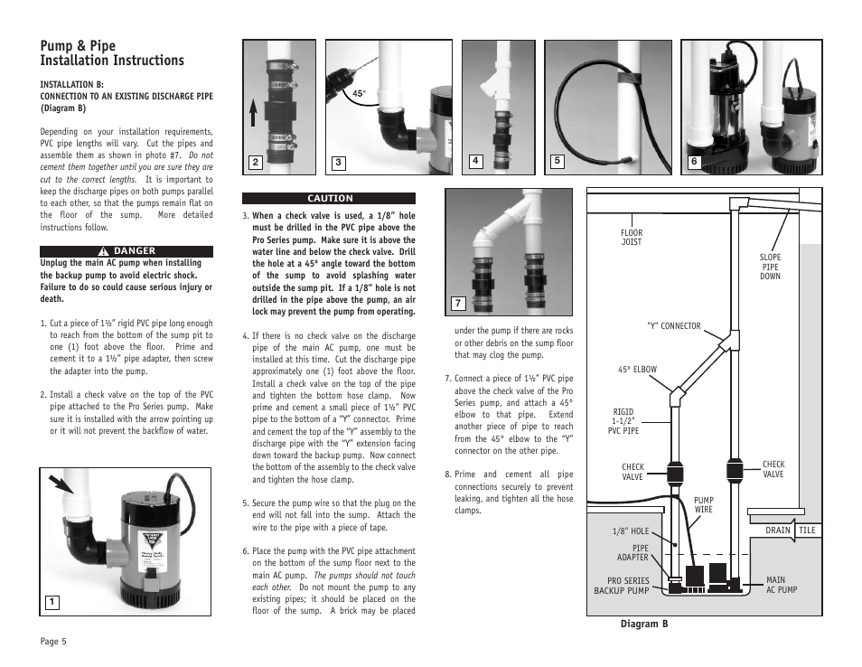 Pump Amp Pipe Installation Instructions Phcc Pro Series