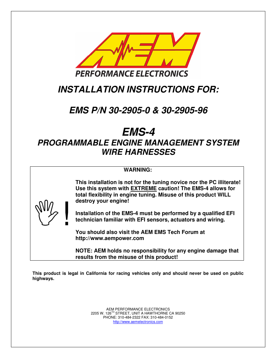 Aem 30 2905 96 Ems 4 Flying Lead Harness With Fuse And Relay Panel Wire User Manual 12 Pages Also For 0 Mini