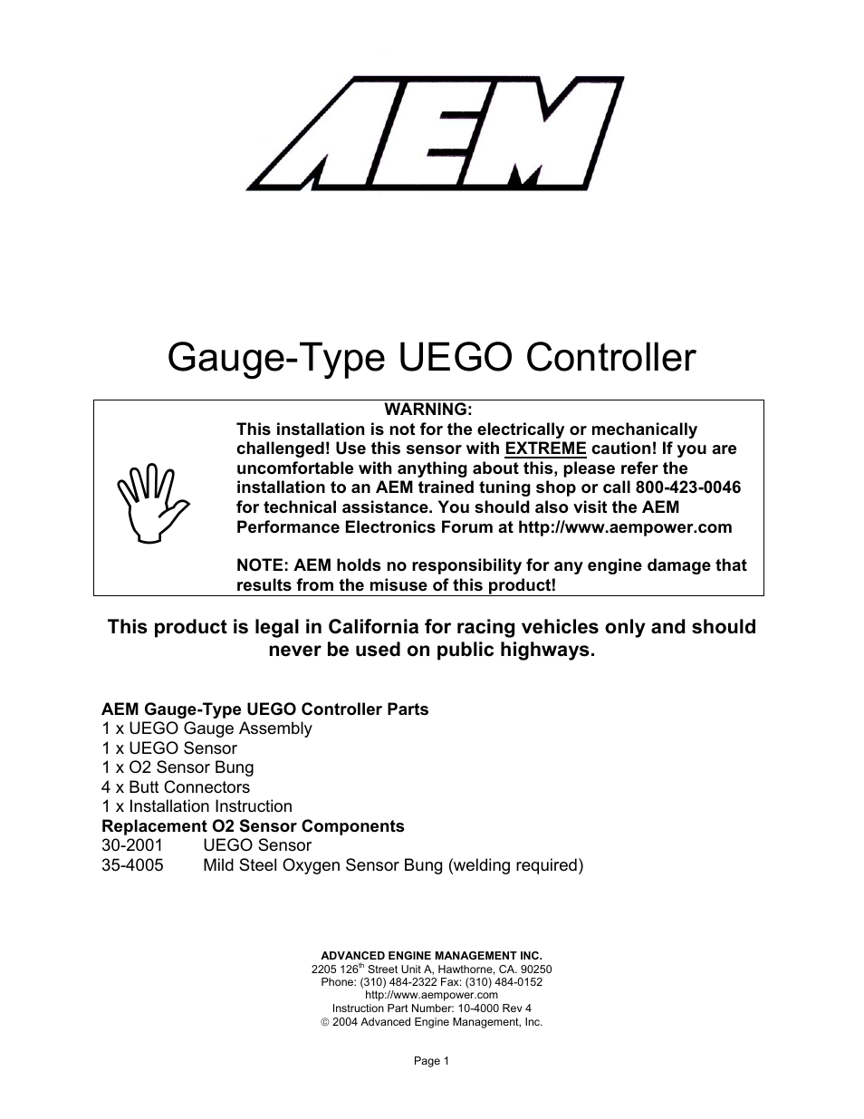 AEM 30-4100 Digital Wideband UEGO Gauge User Manual | 10 pages