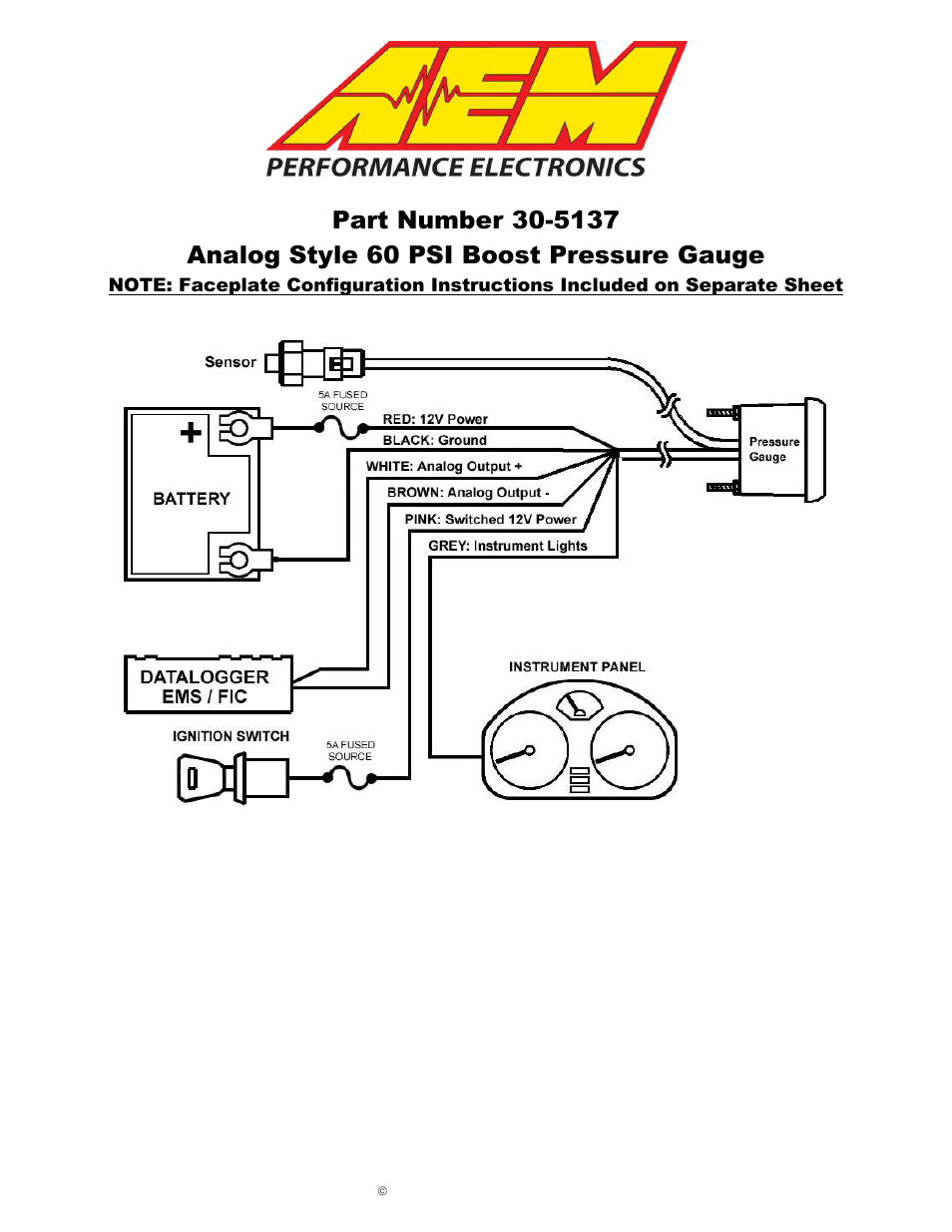 AEM 30-5137M Analog Boost Metric Gauge User Manual | 6 pages | Also for:  30-5137 Analog Boost SAE Gauge
