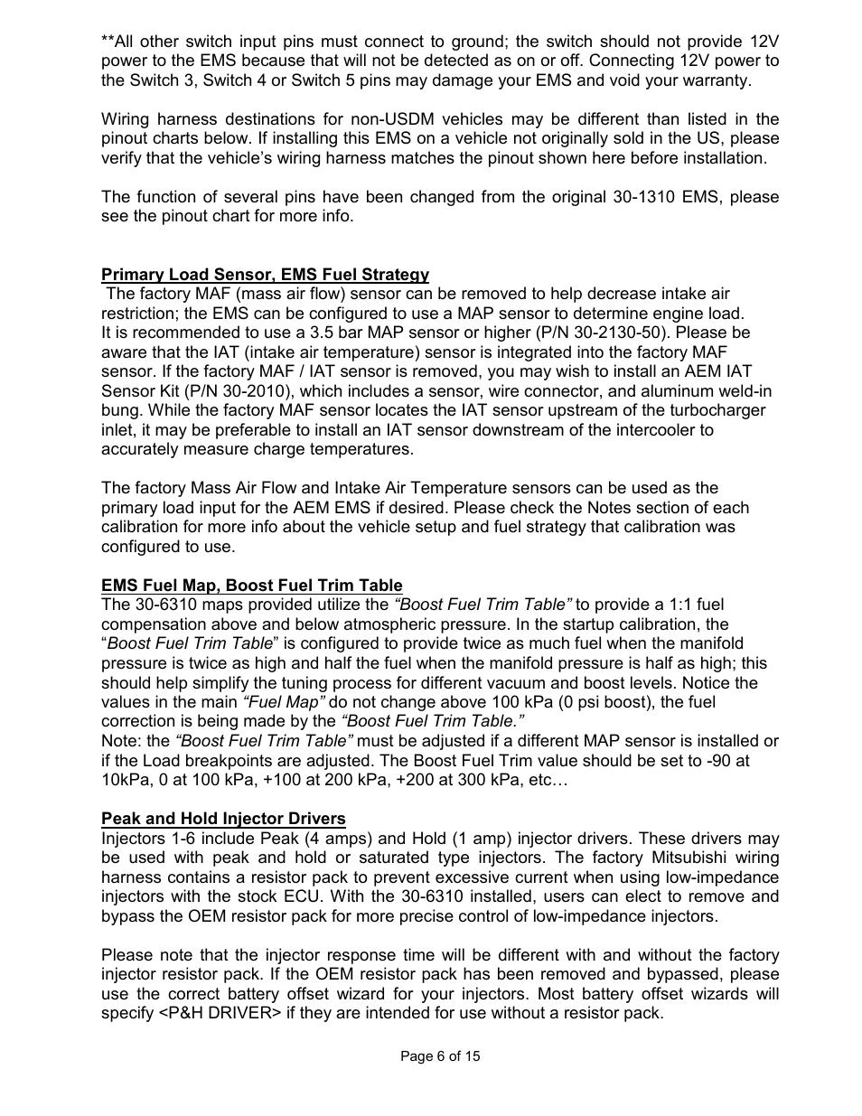 AEM 30-6310 Series 2 Plug & Play EMS User Manual | Page 6 / 15 on