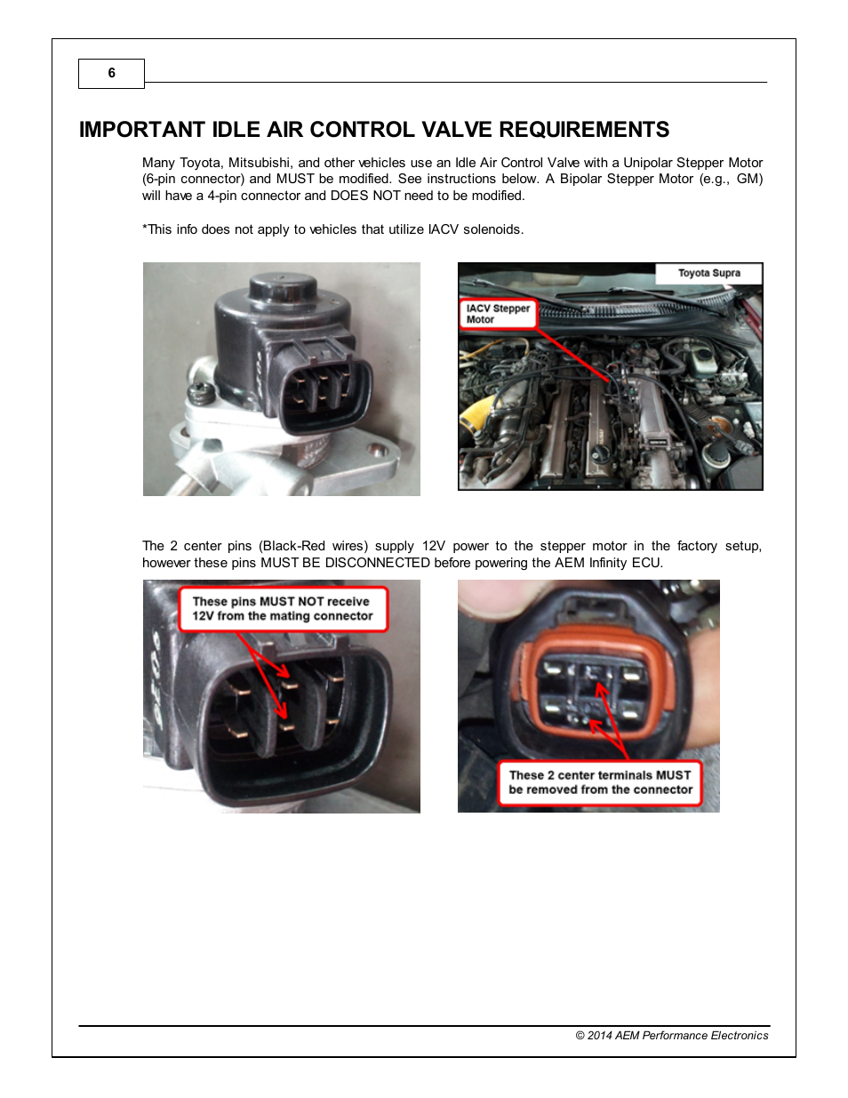 Important idle air control valve requirements | AEM Infinity Supported  Applications - Toyota 1993-1997 Supra Turbo User Manual | Page 6 / 19