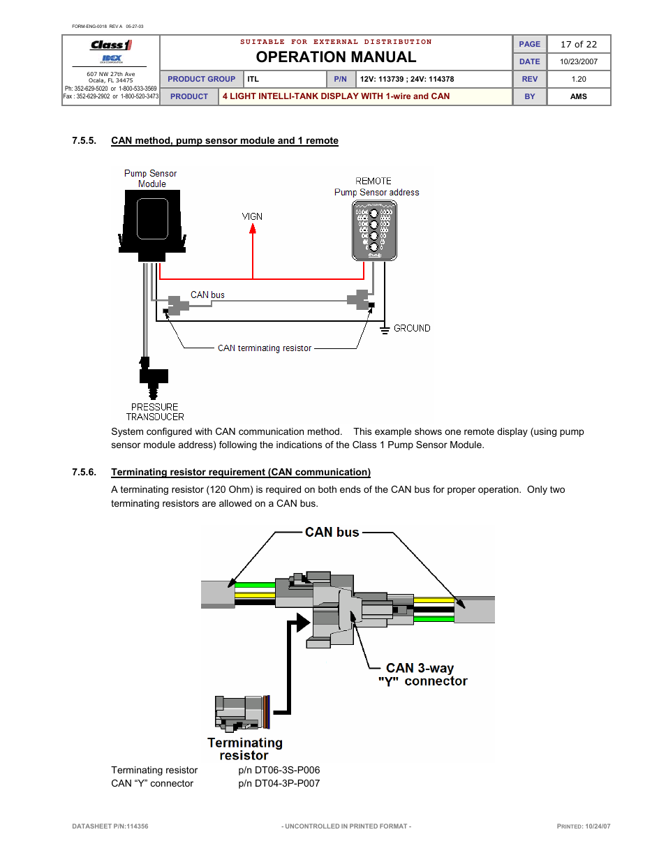 Operation manual | Class1 114356 - ITL 4LT with 1-wire and CAN COM ...