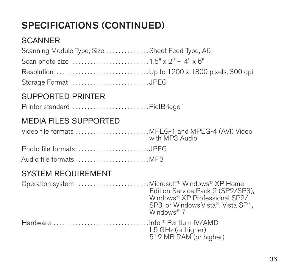 Specifications (continued), Scanner, Supported printer | Brookstone Digital  Photo Frame User Manual | Page 37 / 40