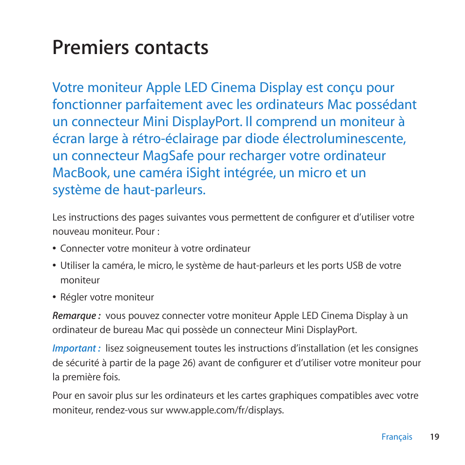 Premiers Contacts Apple Led Cinema Display 27 Inch User Manual
