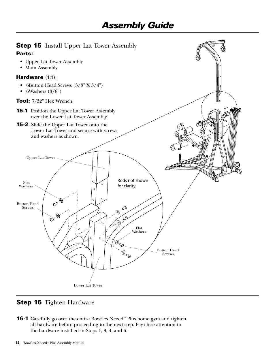 assembly guide step 15 install upper lat tower assembly step 16 rh manualsdir com Bowflex Xceed Workout Chart Bowflex Xceed Costco