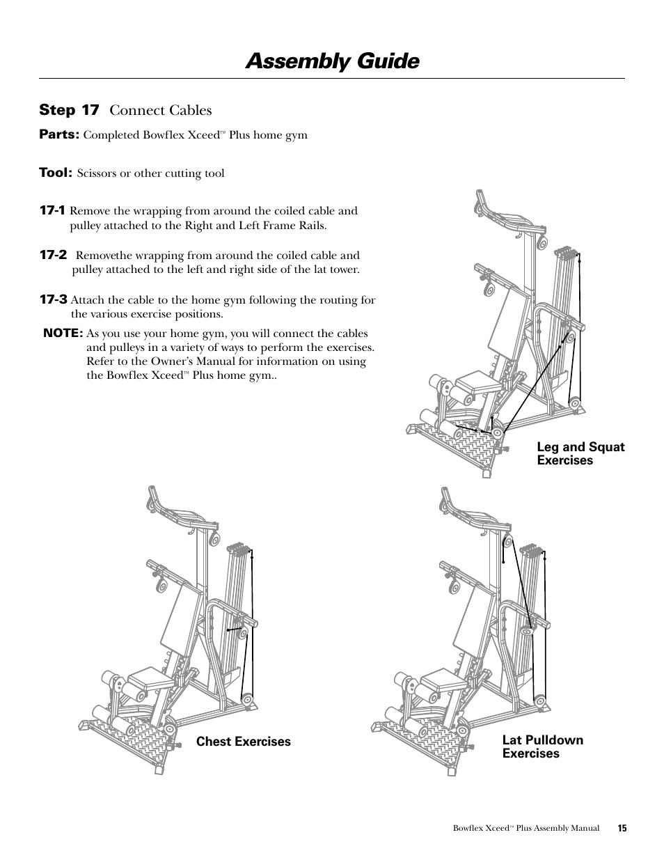assembly guide step 17 connect cables bowflex xceed plus user rh manualsdir com Bowflex XTL Manual PDF Bowflex XTL Manual PDF
