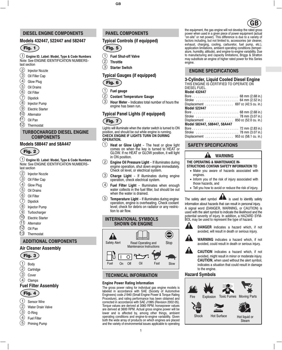 Briggs & Stratton 582447 User Manual | Page 3 / 76 | Also for