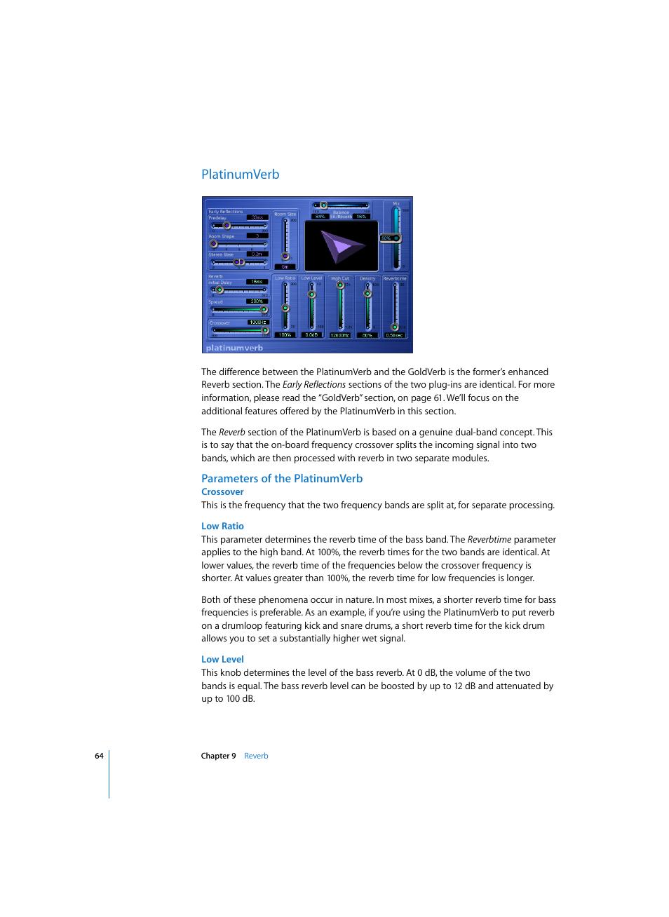 platinumverb parameters of the platinumverb crossover apple rh manualsdir com logic express 7 manual logic express manual pdf