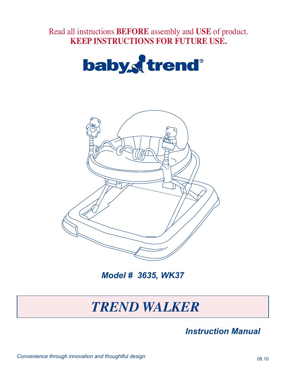 baby trend walker wk37 user manual 4 pages also for walker 3635 rh manualsdir com Owner Manual Babies Owner Manual Babies