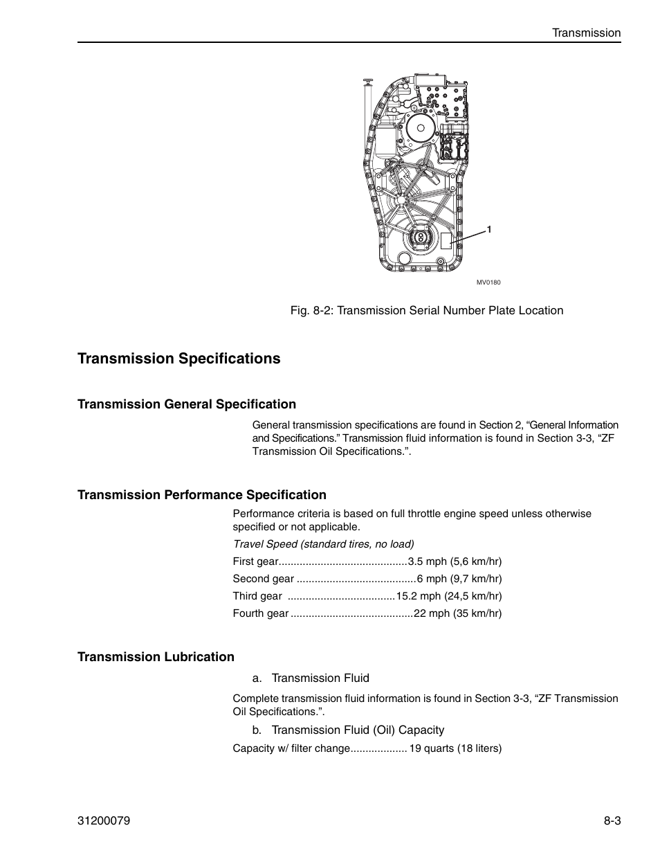 Transmission specifications | Lull 1044C-54 Series II