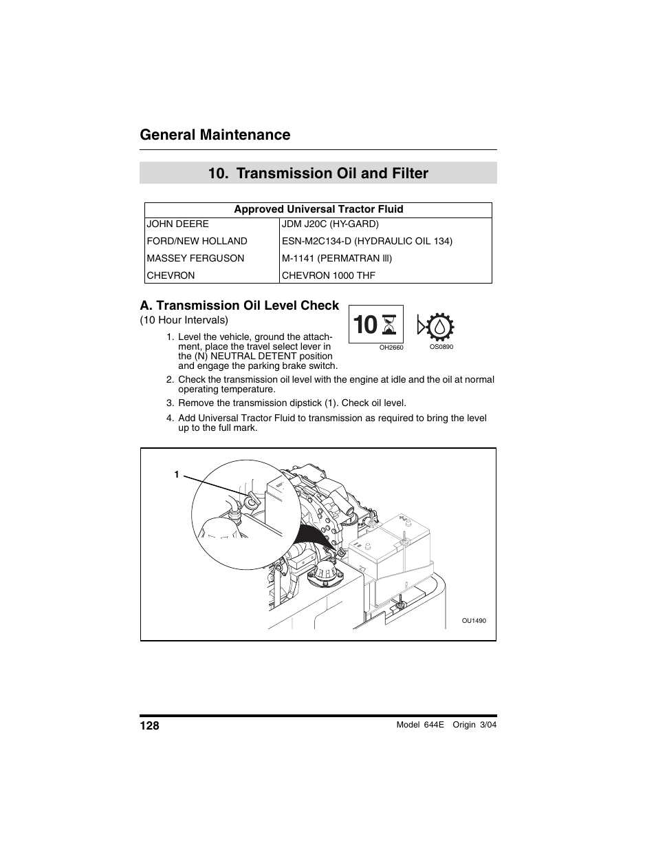 transmission oil and filter, Approved universal tractor fluid, A