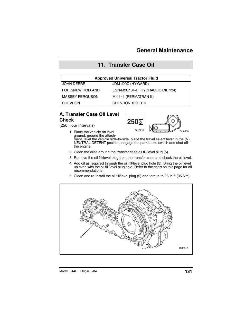 transfer case oil, Approved universal tractor fluid, A