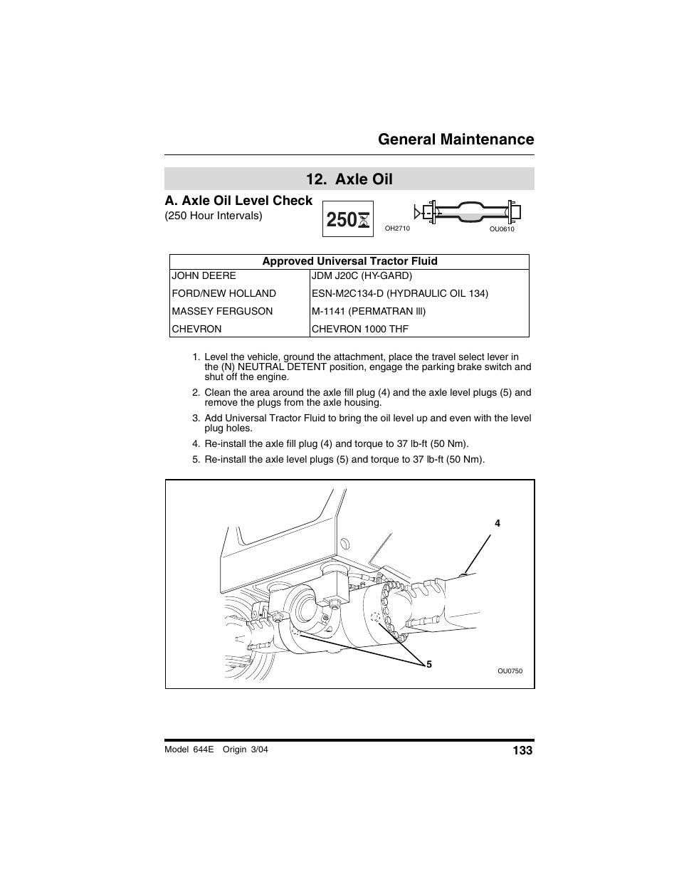 axle oil, A  axle oil level check, 250 hour intervals