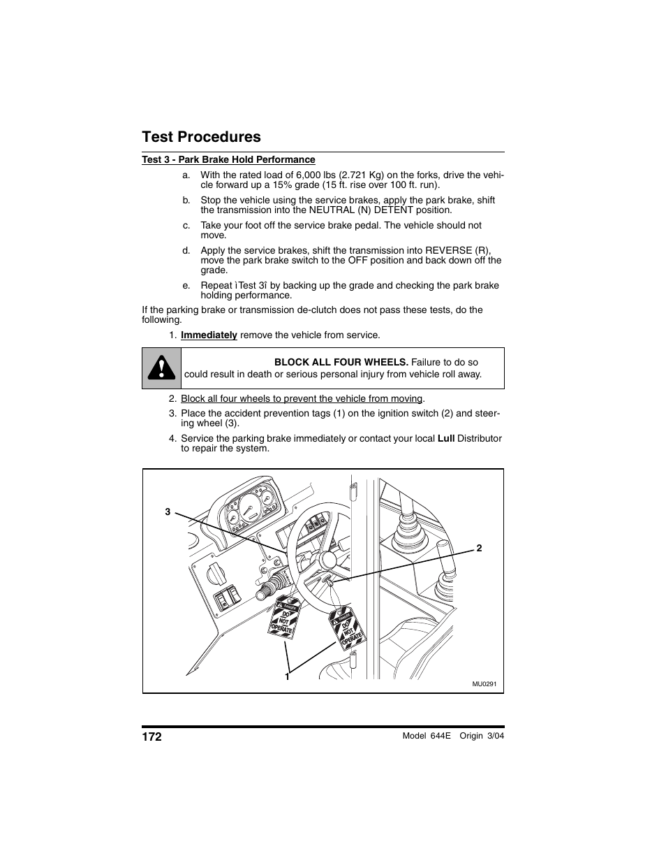 Immediately remove the vehicle from service, Warning, Test procedures | Lull  644E-42 Operation Manual User Manual | Page 174 / 200