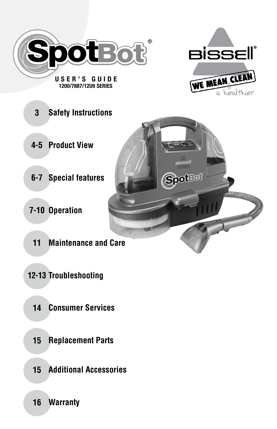 bissell spot bot 1200 series user manual 16 pages also for spot rh manualsdir com  bissell spotbot owners manual