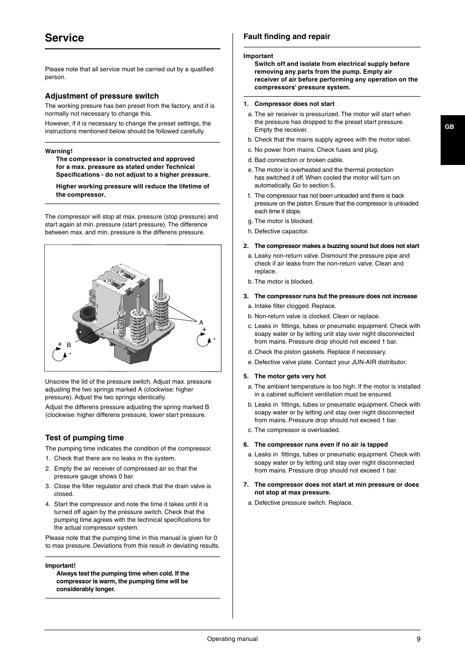 Service   JUN-AIR OF1202 series [cabinet] User Manual   Page 9 /