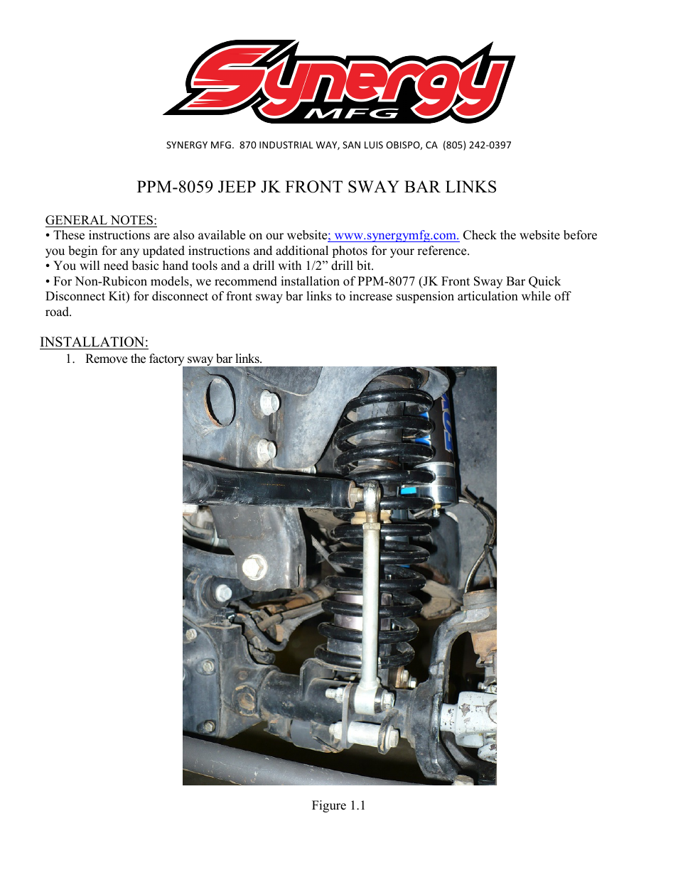 Synergy 8059 - Jeep JK Front Sway Bar Links User Manual | 3