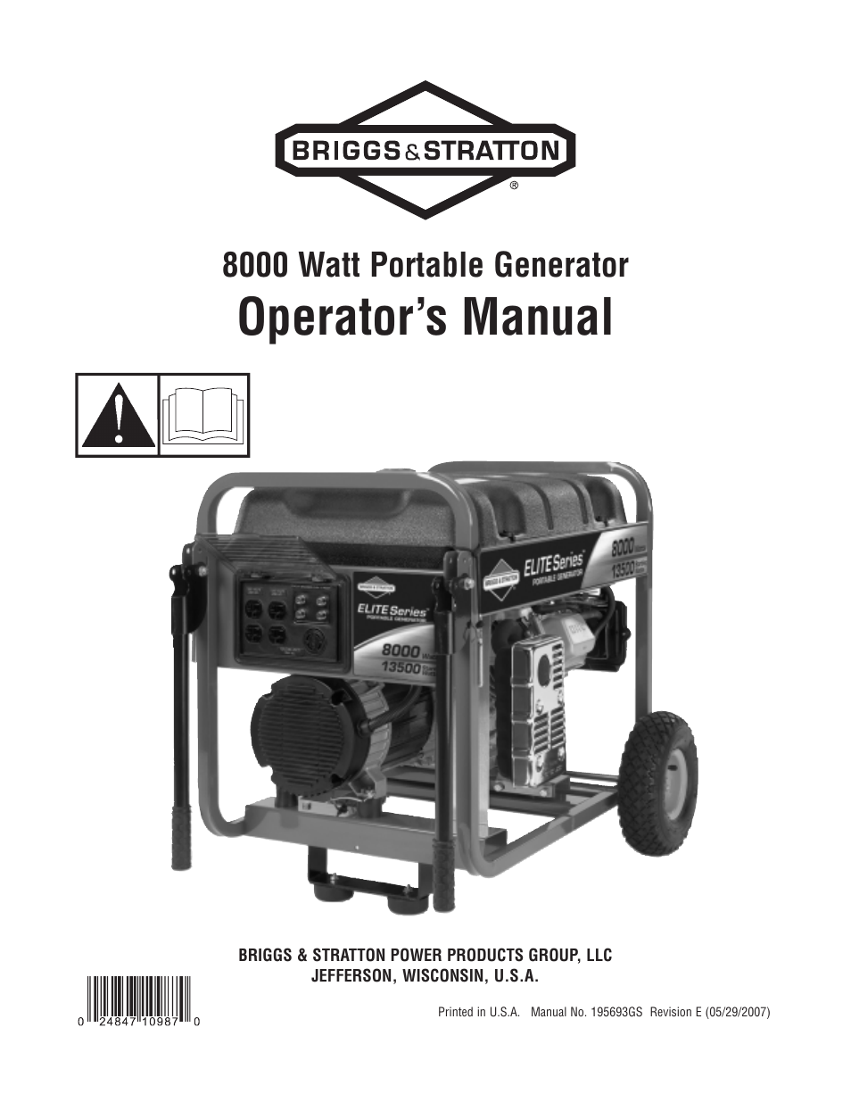 briggs stratton 8000 watt portable generator user manual 56 pages rh manualsdir com briggs & stratton 5000 watt portable generator manual briggs & stratton 5000 watt portable generator manual