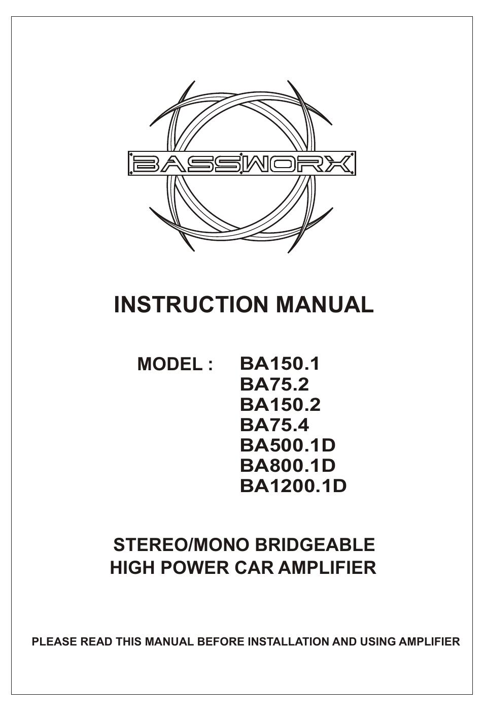 bassworx ba150 2 user manual 16 pages also for ba1200 1d ba75 rh manualsdir com Instruction Manual Book User Manual Icon