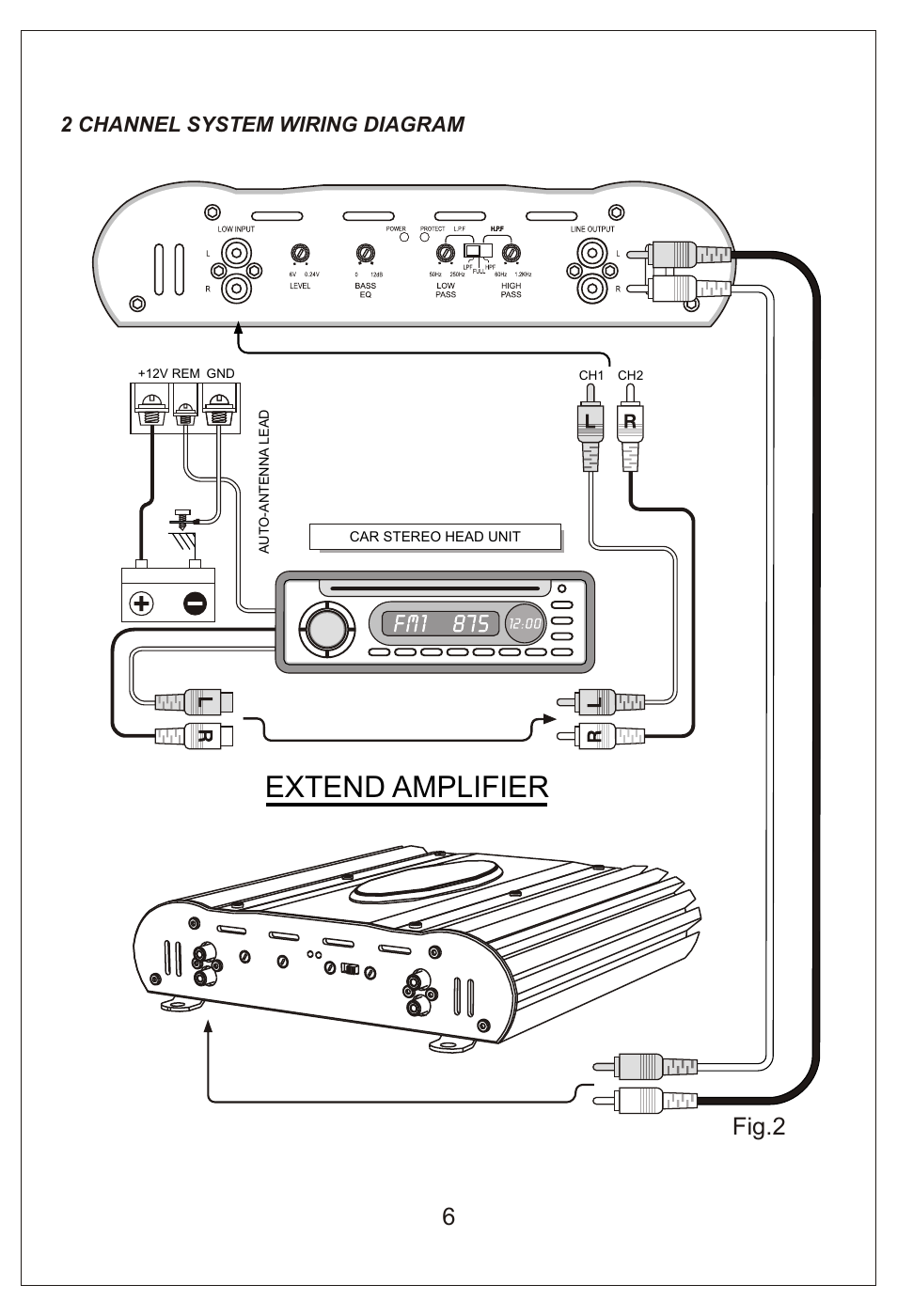 Extend Amplifier Fig2 2 Channel System Wiring Diagram Bassworx Car Ba1502 User Manual Page 7 16