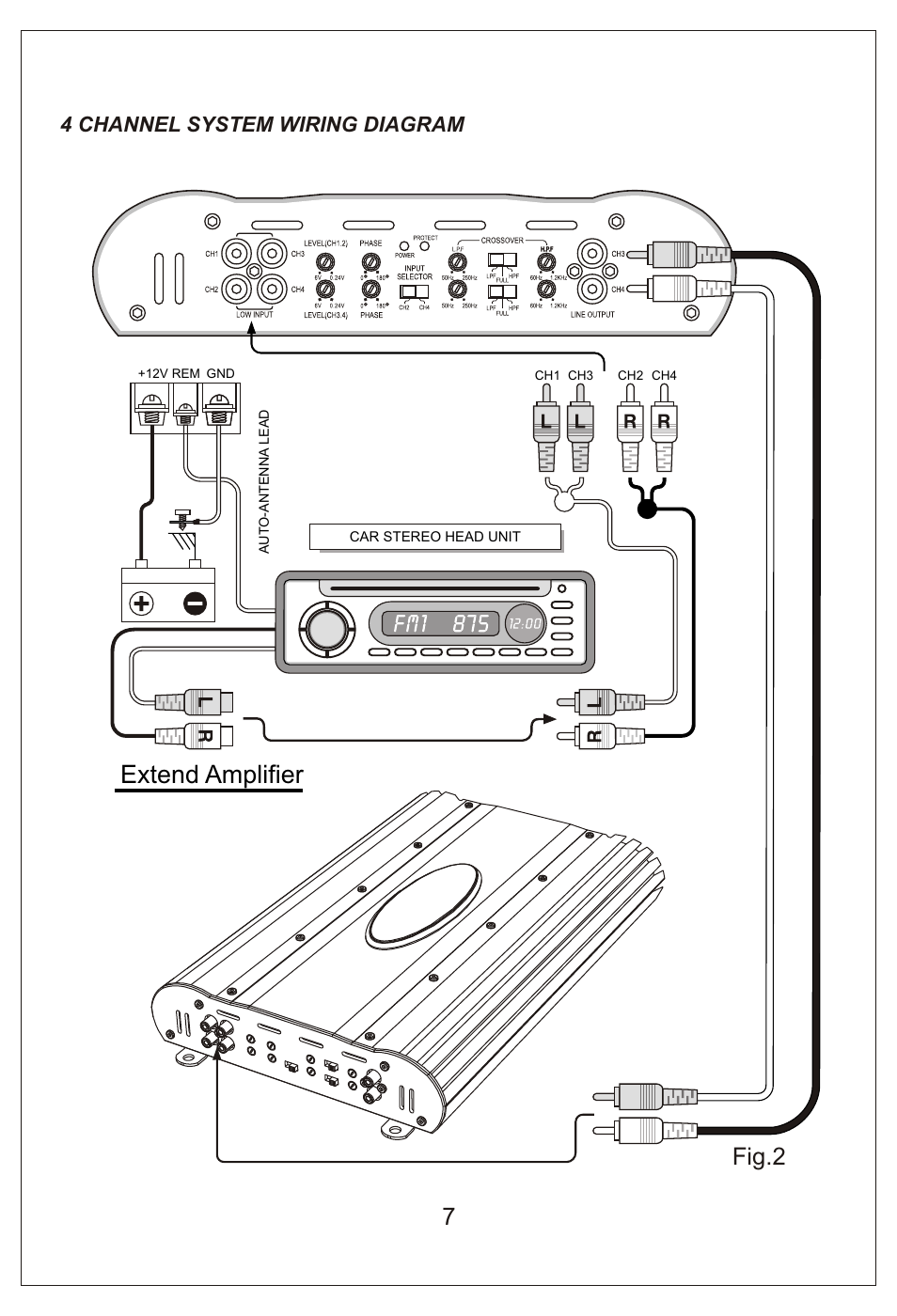 Amplifier Wiring Diagram For Ch 4 Detailed Schematics Mono Car Audio Amp Diagrams Extend 7fig 2 Channel System Bassworx Subwoofer And Installation