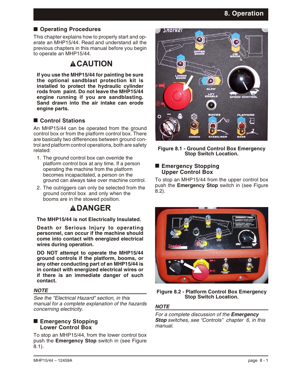 Operation, Operating procedures 8-1, Control stations 8-1 | Emergency  stoppinglower