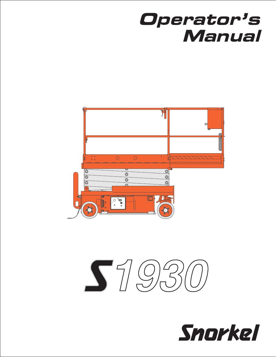Snorkel S1930 Scissor Lift Manual Genie 1930 Wiring Diagram User 54 Pages Rh Manualsdir Com Boom Sl30