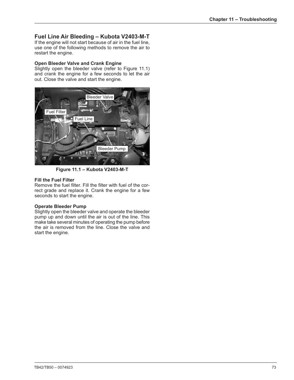Fuel line air bleeding – kubota v2403-m-t   Snorkel TB50 User Manual   Page  77 / 86