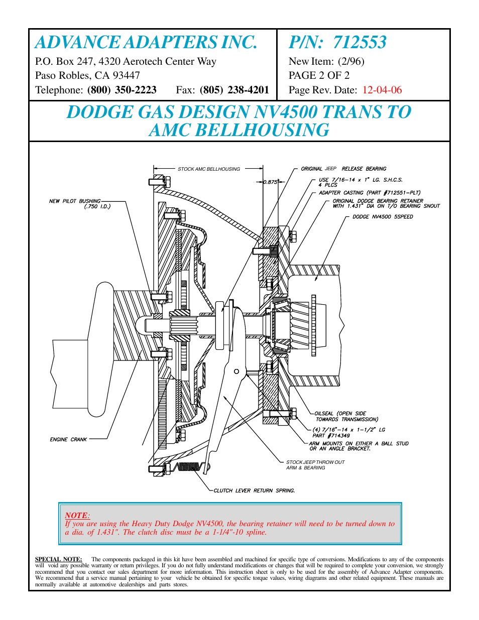 Dodge Gas Design Nv4500 Trans To Amc Bellhousing Advance Adapters Jeep 4 0l Engine Diagram 712553 User Manual Page 2