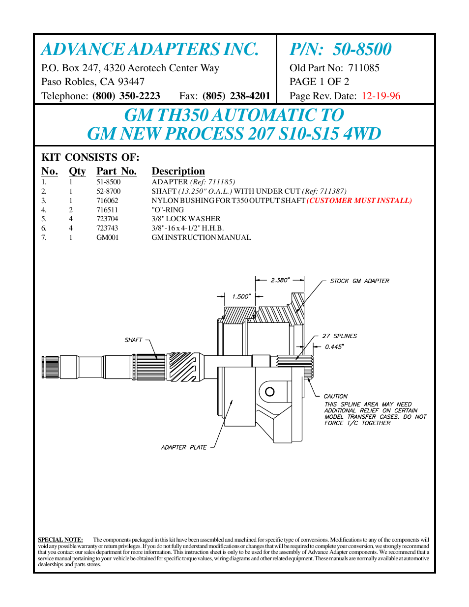 Advance Adapters 50 8500 User Manual 2 Pages Th350 Wiring Diagram