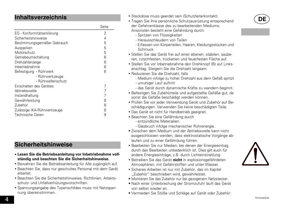 Caractéristiques techniques | ika rw 20 digital user manual | page.