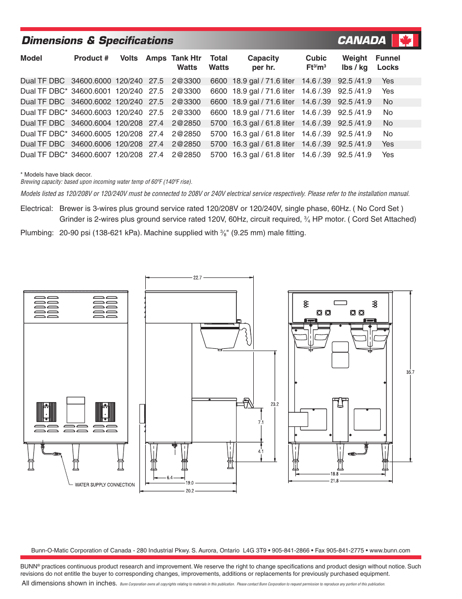 Dimensions Specifications Canada Bunn Brewwise Dual Tf Dbc User 120 To 240 V Single Phase Wiring Diagram Manual Page 2