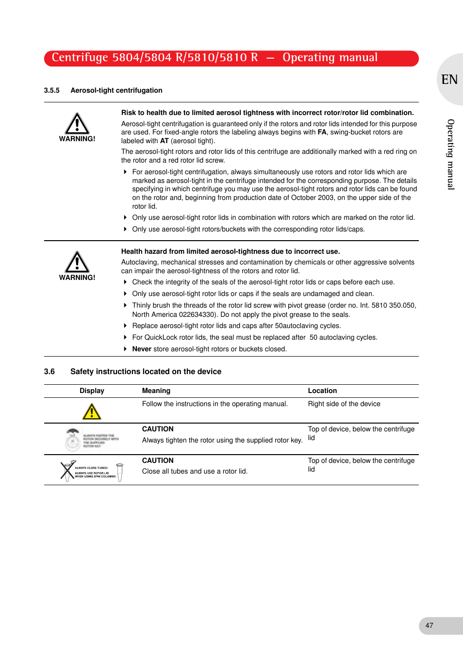 5 aerosol tight centrifugation 6 safety instructions located on the rh manualsdir com Jouan Centrifuge Manual IEC HN-SII Centrifuge Manual