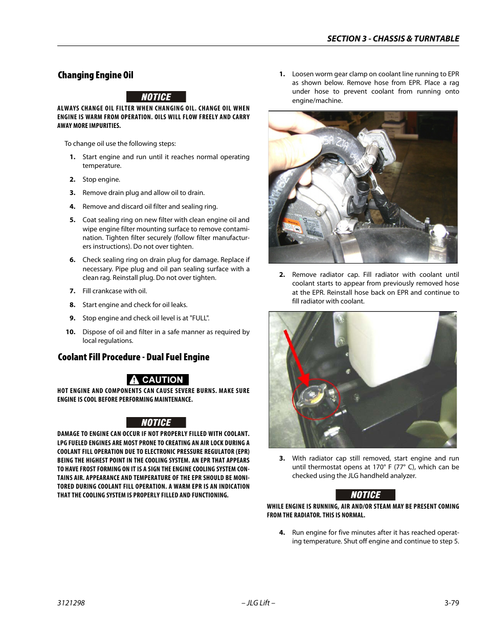 Changing engine oil, Coolant fill procedure - dual fuel engine | JLG 660SJ  Service Manual User Manual | Page 123 / 328