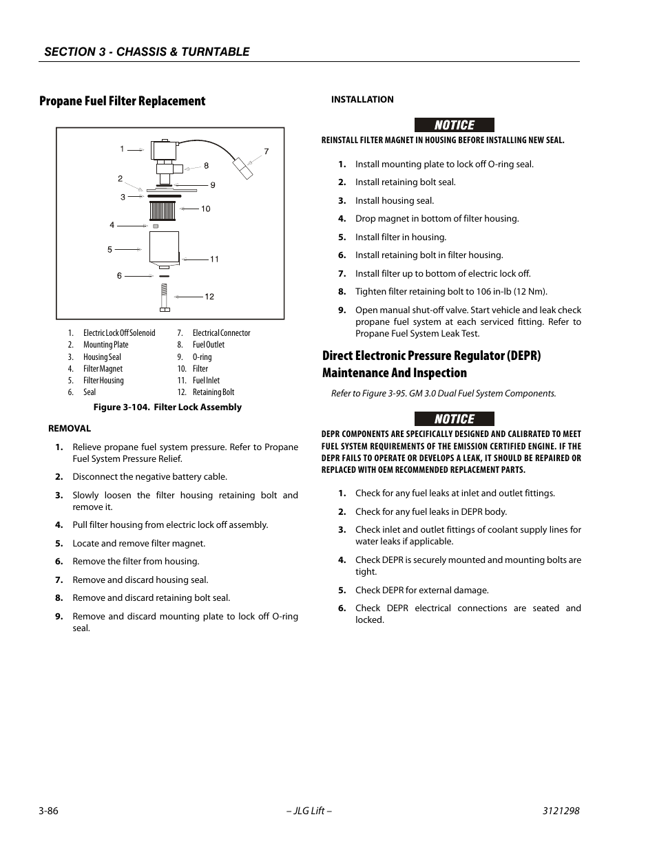 Propane fuel filter replacement, Filter lock assembly -86 | JLG 660SJ  Service Manual User