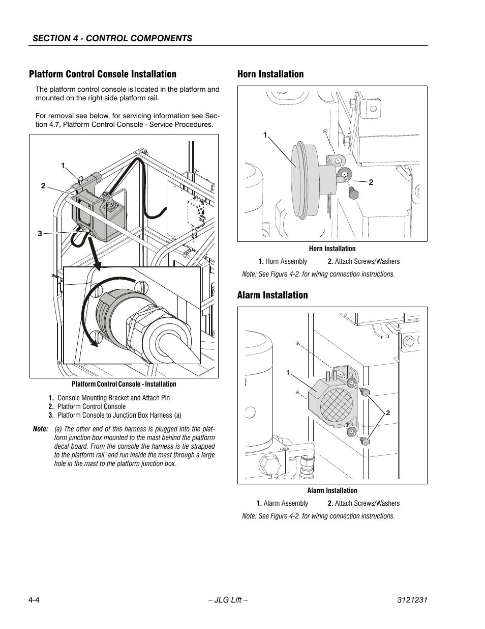 Jlg 20mvl Wiring Diagram Schematics 20am Platform Control Console Installation Horn Alarm Bomag