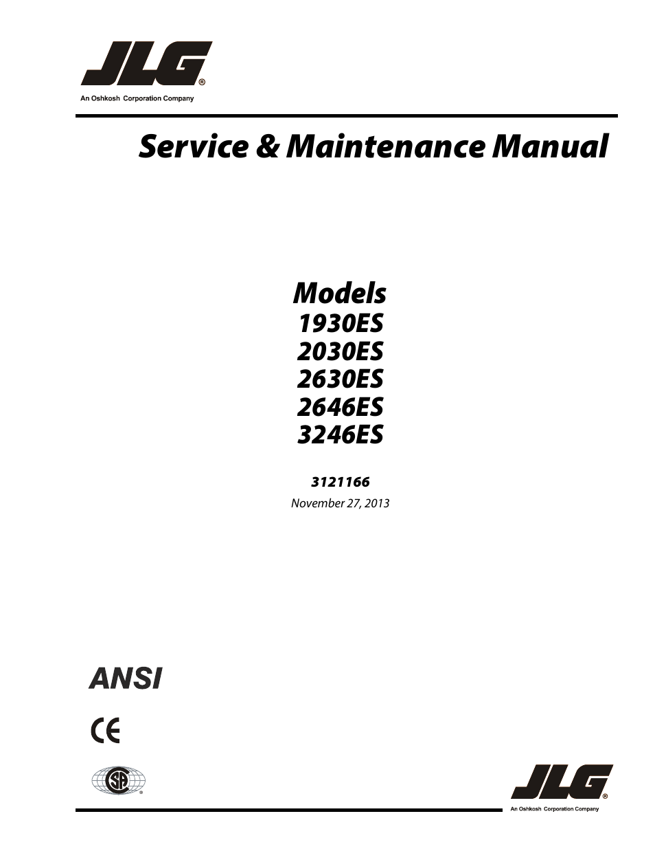 JLG 3246ES Service Manual User Manual | 222 pages | Also for: 2646ES  Service Manual, 2046ES Service Manual, 2030ES Service Manual, 1930ES  Service ManualManuals Directory