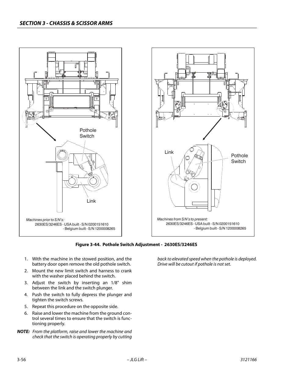 Pothole switch adjustment - 2630es/3246es -56 | JLG 3246ES Service Manual  User Manual