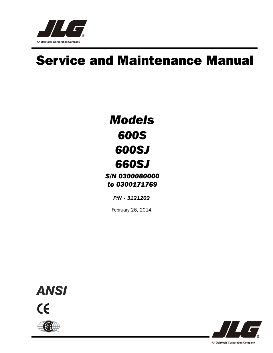 JLG 660SJ Service Manual User Manual | 334 pages | Also for: 600S_SJ  Service ManualManuals Directory
