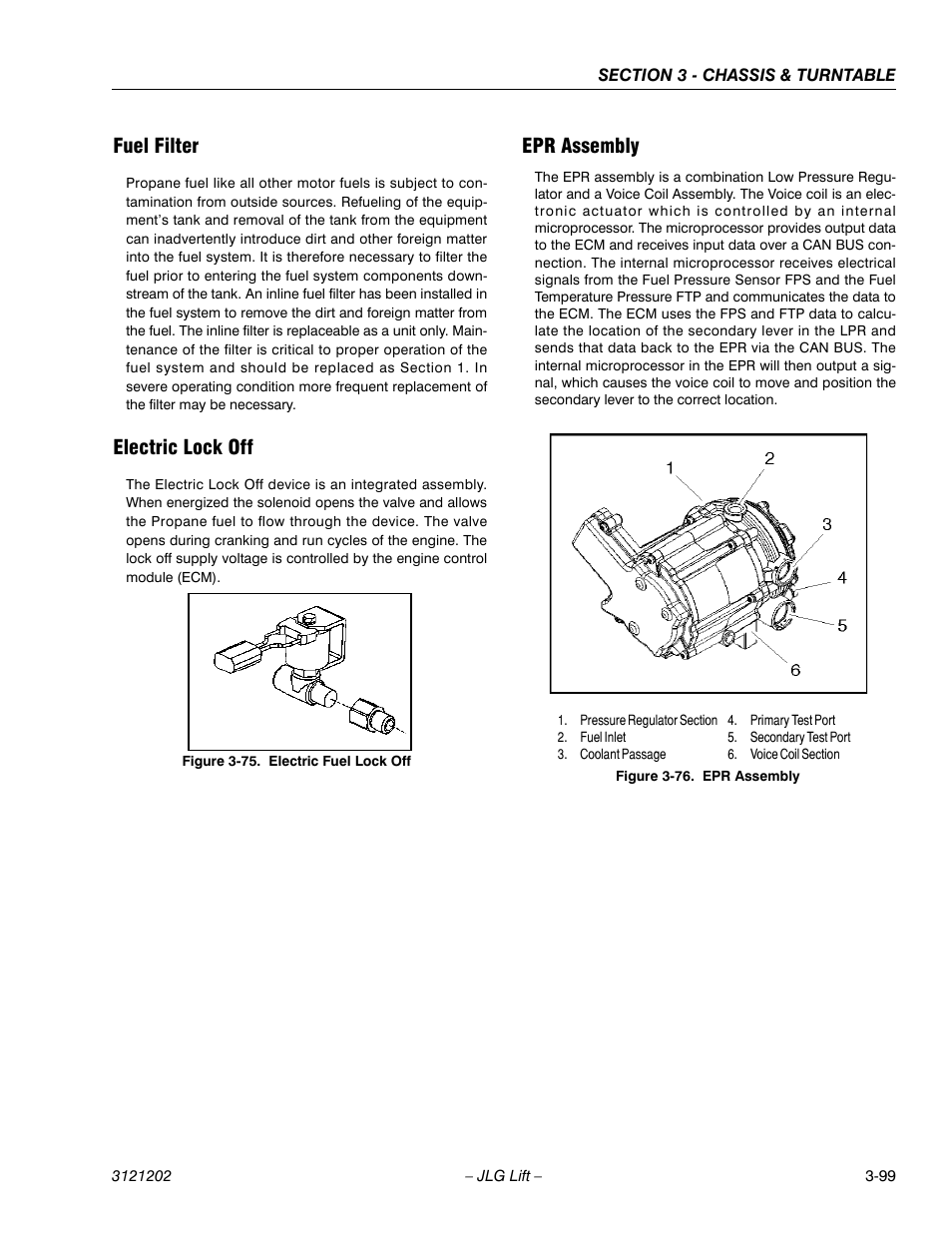 Fuel filter, Electric lock off, Epr assembly | JLG 660SJ Service Manual  User Manual | Page 149 / 334