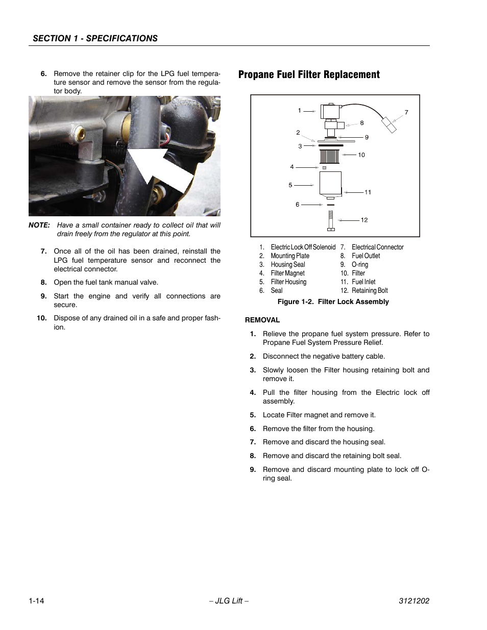propane fuel filter replacement, propane fuel filter replacement -14, filter  lock assembly -14 | jlg 660sj service manual user manual | page 30 / 334