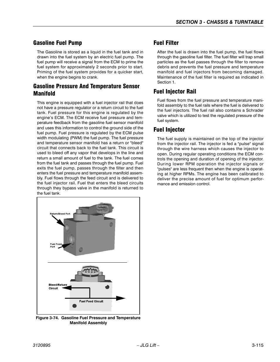 gasoline fuel pump, gasoline pressure and temperature sensor manifold, fuel  filter | jlg 460sj service manual user manual | page 167 / 462