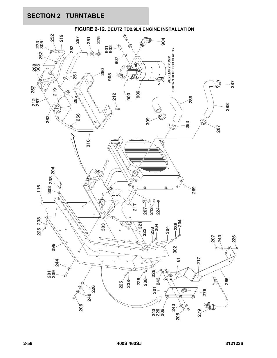 Figure 2-12. deutz td2.9l4 engine installation, Deutz td2.9l4 engine  installation -56   JLG 460SJ Parts Manual User Manual   Page 118 / 430