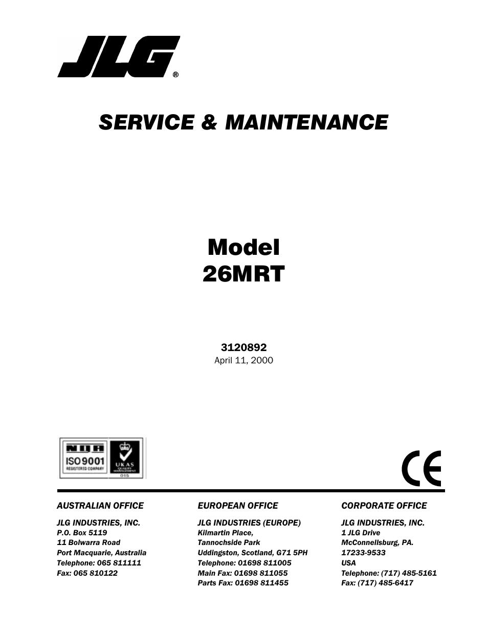 Jlg 26mrt Service Manual User Manual