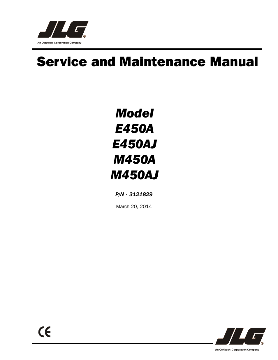 JLG M450 Service Manual User Manual | 256 pages | Also for: E450 Service  Manual