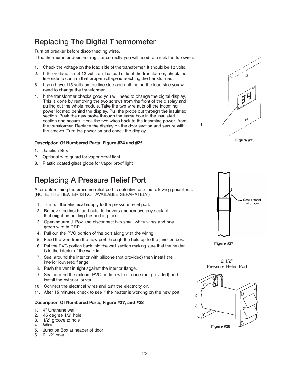 Replacing the digital thermometer, Replacing a pressure relief port |  Imperial Brown Walk-in