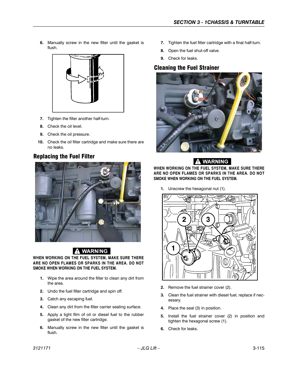 Replacing The Fuel Filter Cleaning Strainer Jlg 1250ajp 6 5 Assembly Service Manual User Page 163 606