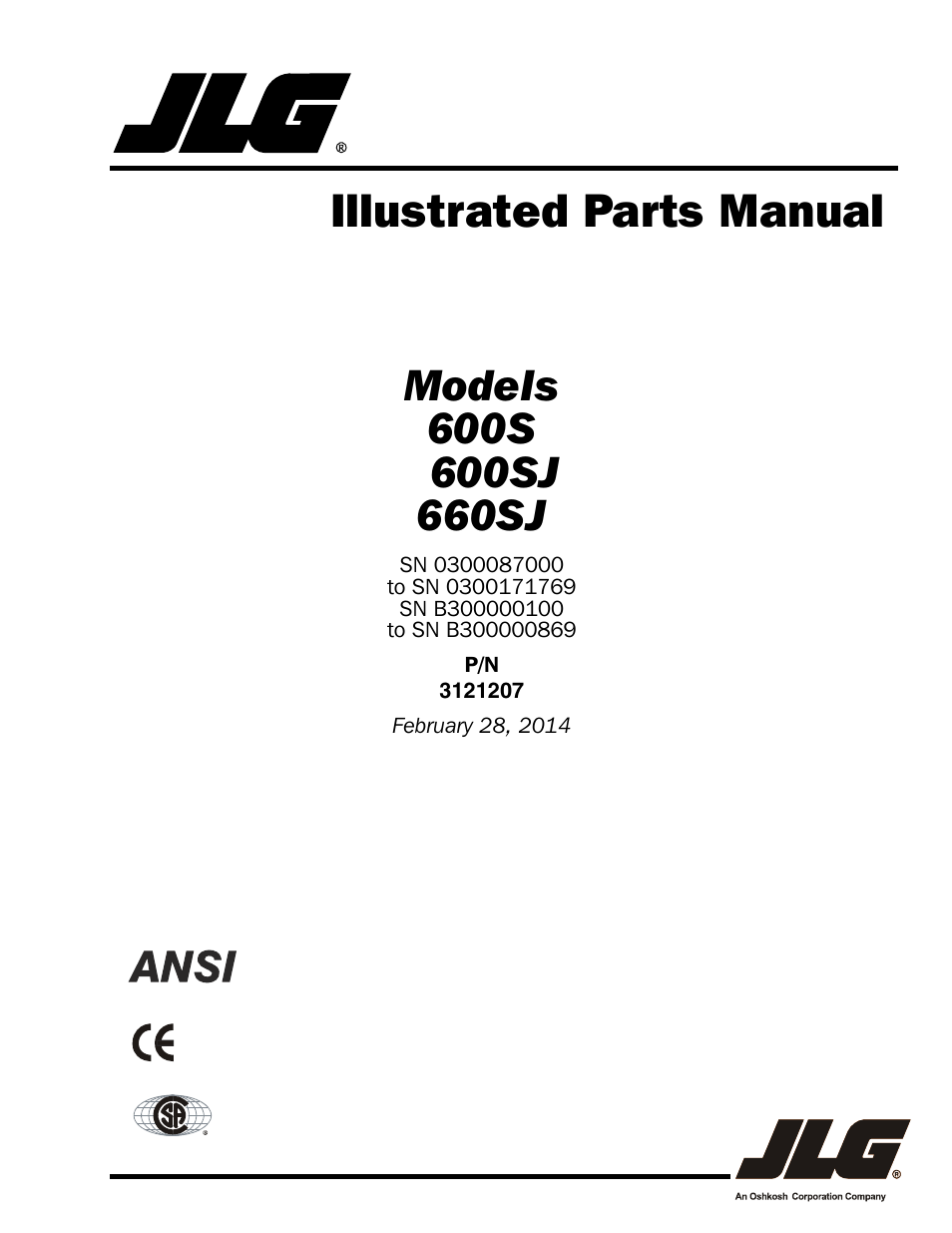 JLG 660SJ Parts Manual User Manual | 404 pages | Also for .